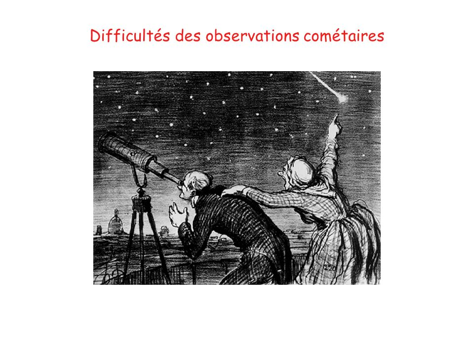 Difficultés des observations cométaires