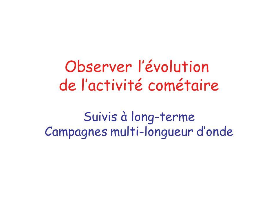 Observer lévolution de lactivité cométaire Suivis à long-terme Campagnes multi-longueur donde