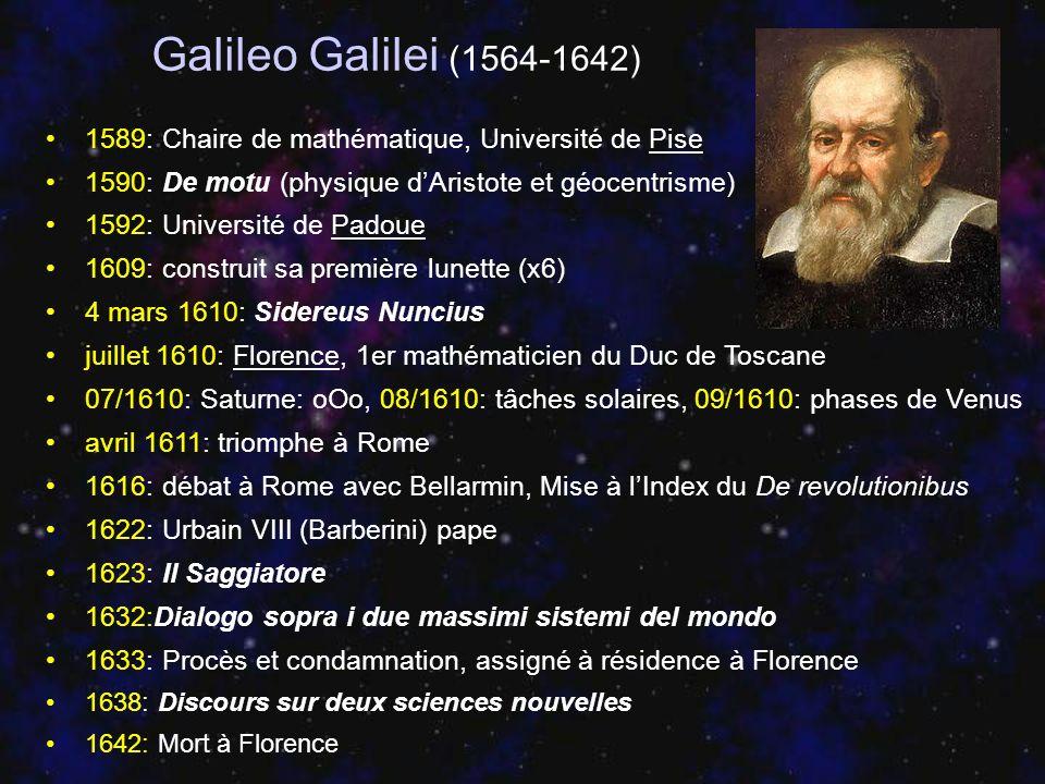 Galileo Galilei (1564-1642) 1589: Chaire de mathématique, Université de Pise 1590: De motu (physique dAristote et géocentrisme) 1592: Université de Pa