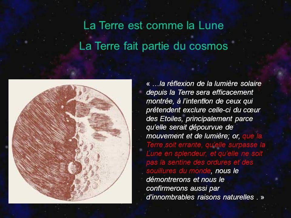 La Terre est comme la Lune La Terre fait partie du cosmos « …la réflexion de la lumière solaire depuis la Terre sera efficacement montrée, à lintentio