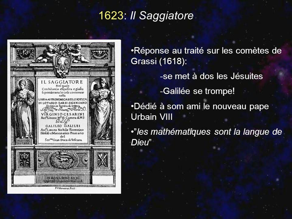 1623: Il Saggiatore Réponse au traité sur les comètes de Grassi (1618): -se met à dos les Jésuites -Galilée se trompe! Dédié à som ami le nouveau pape
