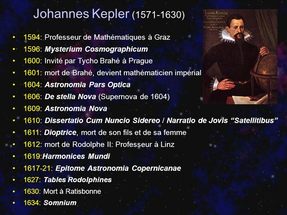 Johannes Kepler (1571-1630) 1594: Professeur de Mathématiques à Graz 1596: Mysterium Cosmographicum 1600: Invité par Tycho Brahé à Prague 1601: mort d