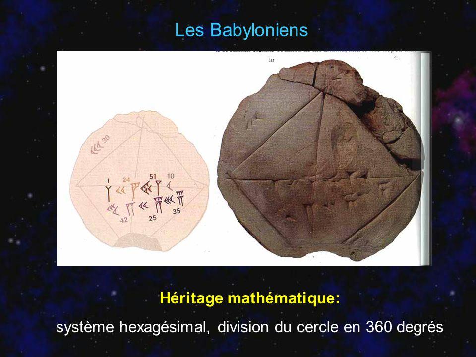 Héritage mathématique: système hexagésimal, division du cercle en 360 degrés