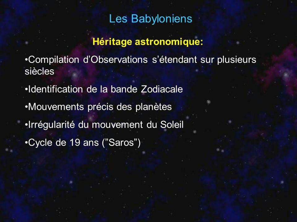 Les Babyloniens Héritage astronomique: Compilation dObservations sétendant sur plusieurs siècles Identification de la bande Zodiacale Mouvements préci