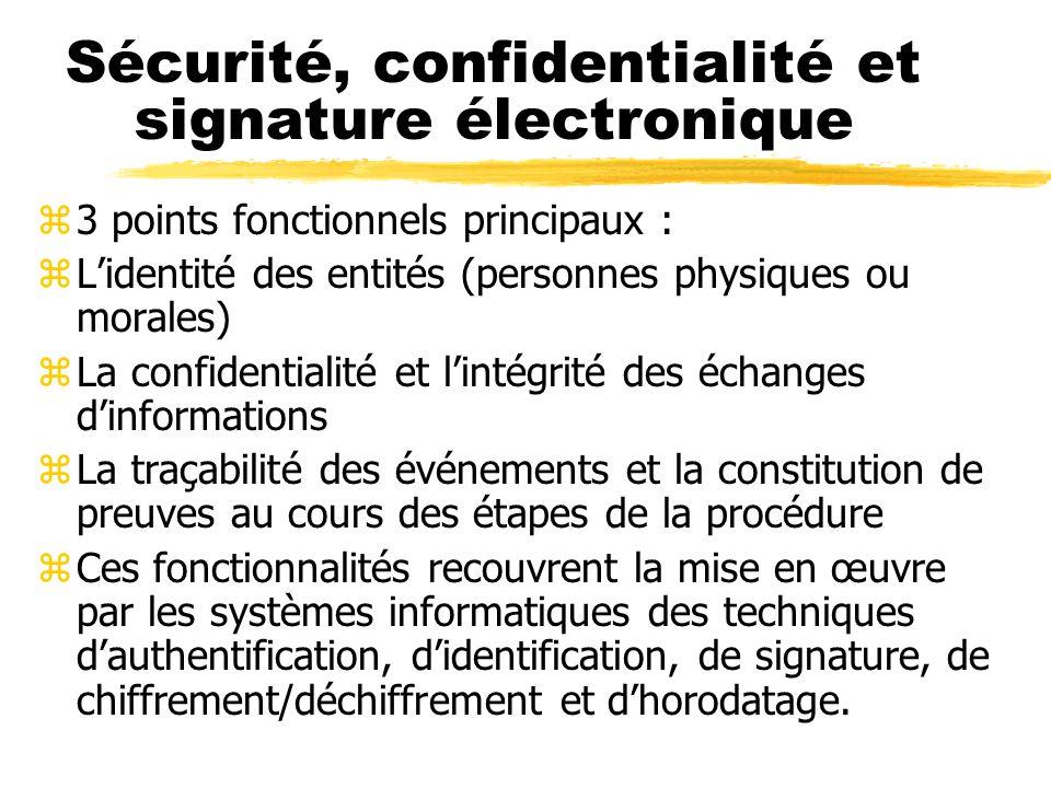 Sécurité, confidentialité et signature électronique zLes éléments de sécurisation sont prévus à chaque étape de la procédure dématérialisée zLes achet