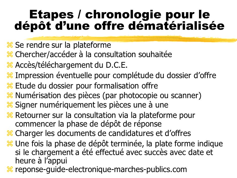 Déroulement d une procédure dématérialisée zLa publication d une consultation dématérialisée (Publicité + DCE) zRetrait par téléchargement du D.C.E. p