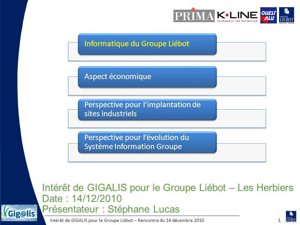Intérêt de GIGALIS pour le Groupe Liébot – Rencontre du 14 décembre 20101 Intérêt de GIGALIS pour le Groupe Liébot – Les Herbiers Date : 14/12/2010 Pr