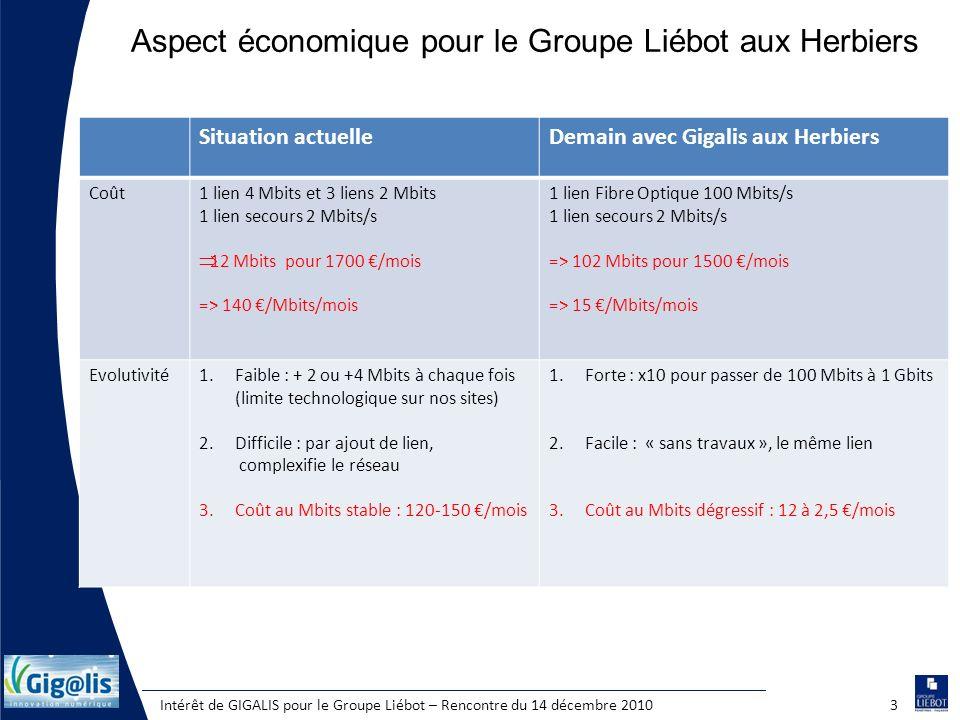 Intérêt de GIGALIS pour le Groupe Liébot – Rencontre du 14 décembre 20103 Aspect économique pour le Groupe Liébot aux Herbiers Situation actuelleDemai