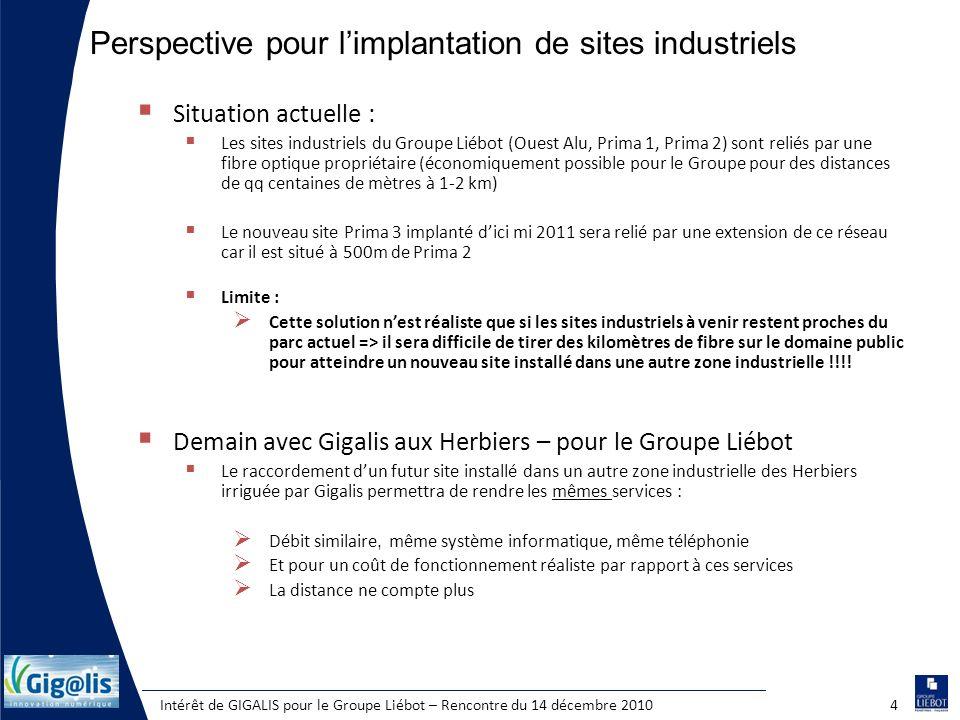 Intérêt de GIGALIS pour le Groupe Liébot – Rencontre du 14 décembre 20104 Situation actuelle : Les sites industriels du Groupe Liébot (Ouest Alu, Prim