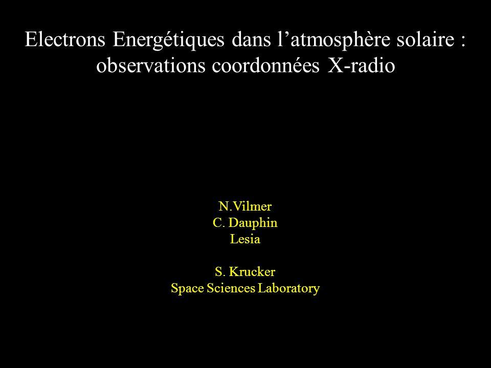 Electrons Energétiques dans latmosphère solaire : observations coordonnées X-radio N.Vilmer C.