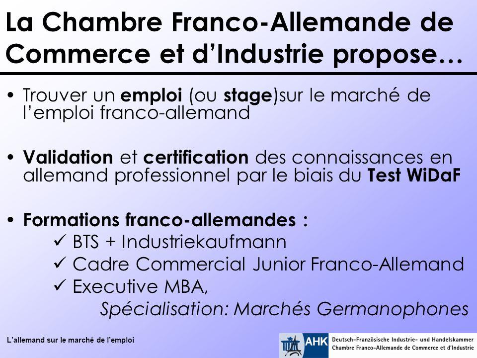 Lallemand sur le marché de lemploi La Chambre Franco-Allemande de Commerce et dIndustrie propose… Trouver un emploi (ou stage )sur le marché de lemplo
