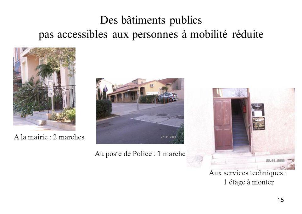 15 Des bâtiments publics pas accessibles aux personnes à mobilité réduite A la mairie : 2 marches Au poste de Police : 1 marche Aux services technique