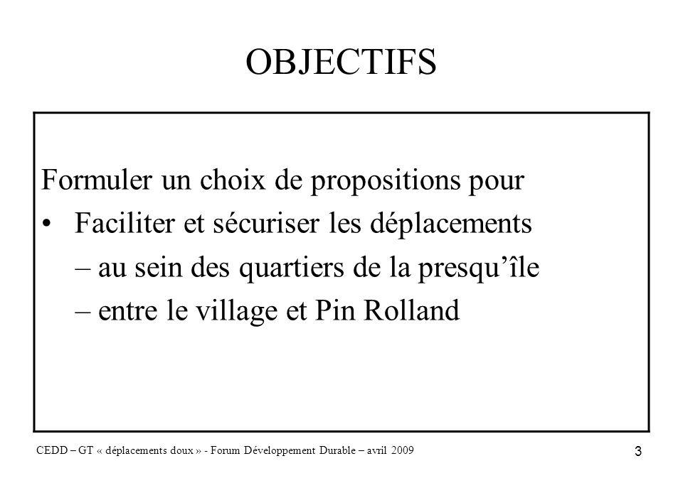 3 OBJECTIFS CEDD – GT « déplacements doux » - Forum Développement Durable – avril 2009 Formuler un choix de propositions pour Faciliter et sécuriser l