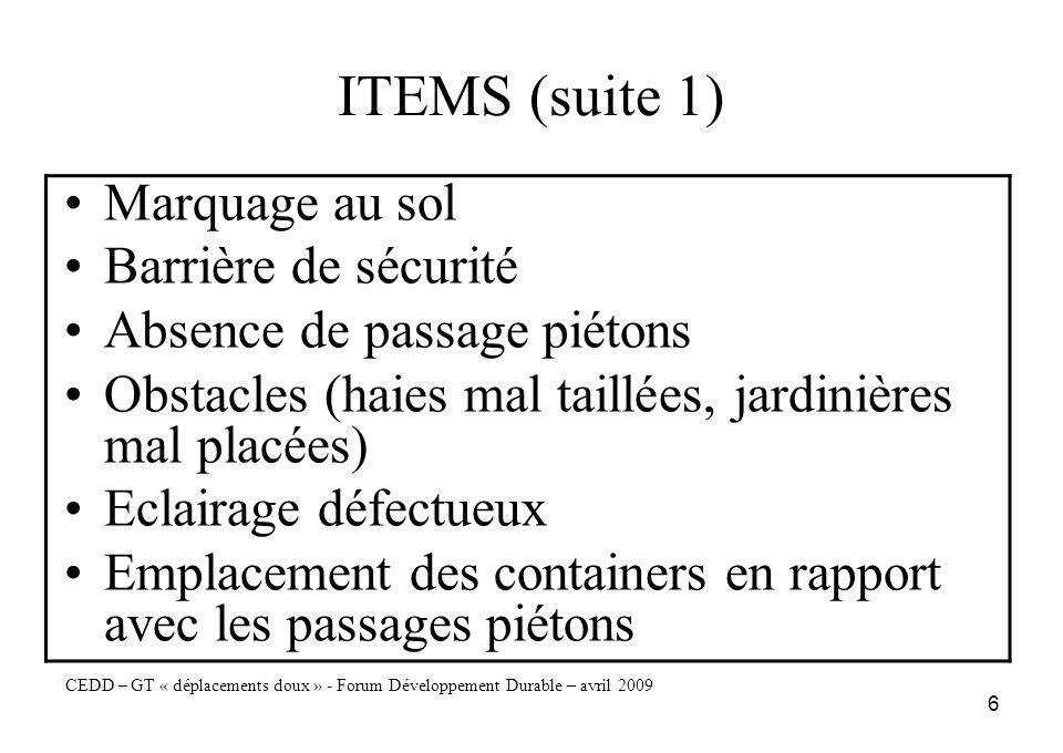 6 ITEMS (suite 1) Marquage au sol Barrière de sécurité Absence de passage piétons Obstacles (haies mal taillées, jardinières mal placées) Eclairage dé