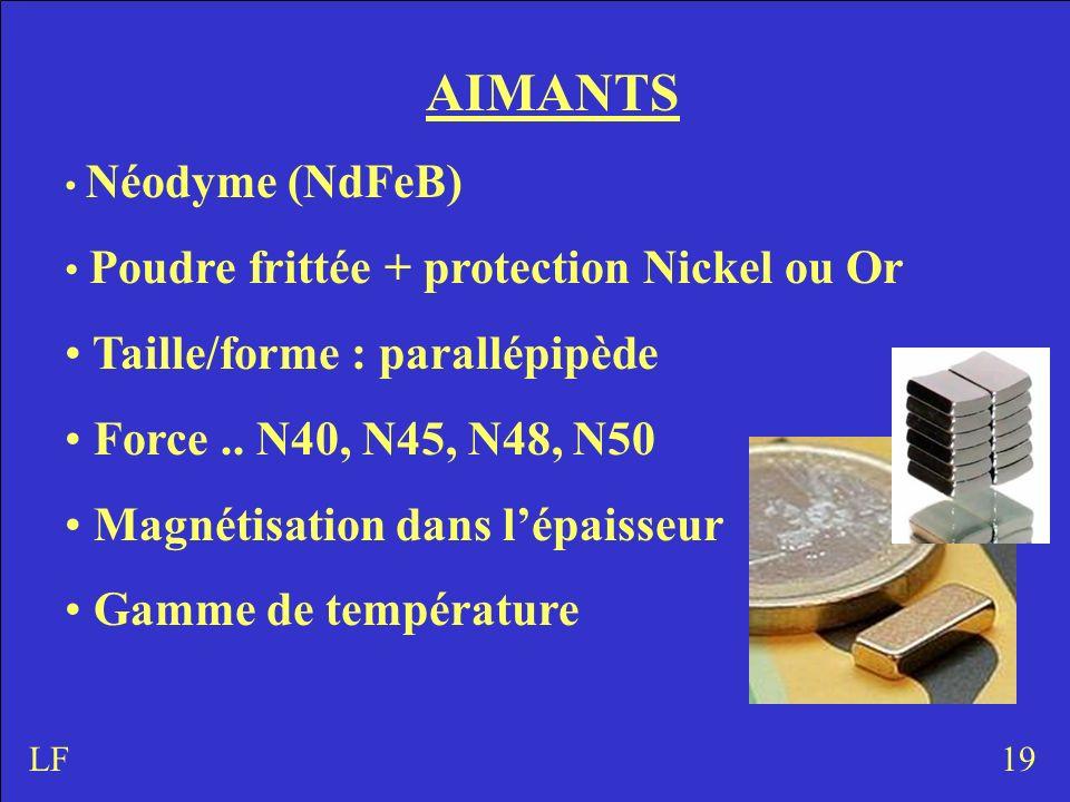 AIMANTS Néodyme (NdFeB) Poudre frittée + protection Nickel ou Or Taille/forme : parallépipède Force..