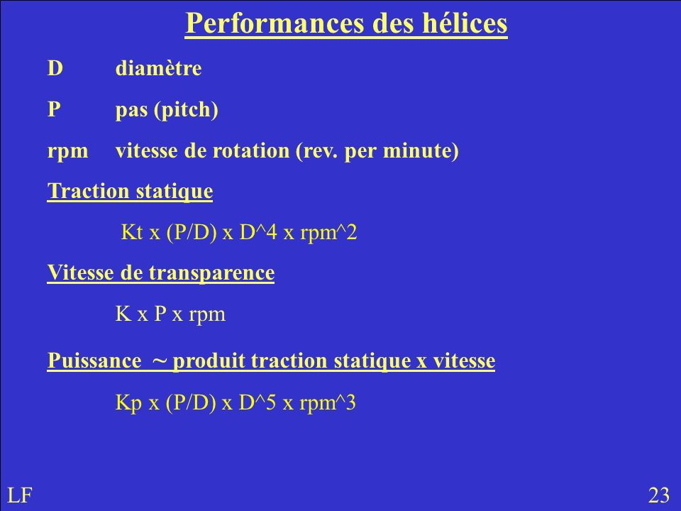 Performances des hélices Ddiamètre Ppas (pitch) rpmvitesse de rotation (rev. per minute) Traction statique Kt x (P/D) x D^4 x rpm^2 Vitesse de transpa