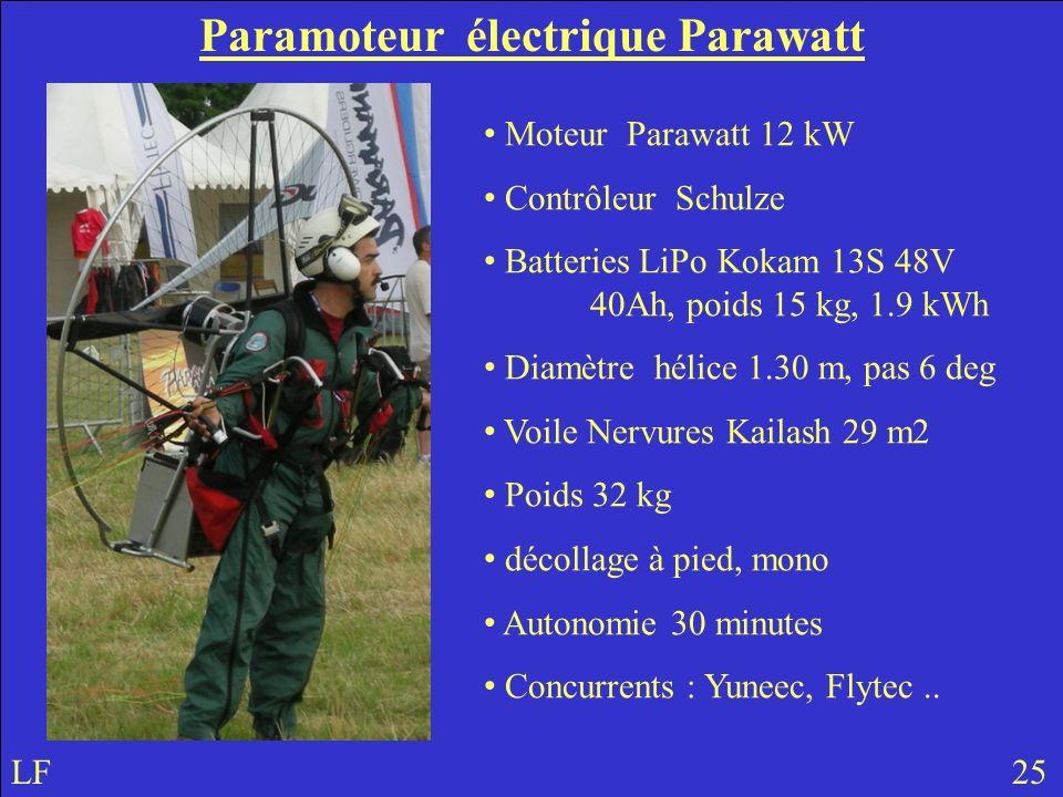 Paramoteur électrique Parawatt LF 25 Moteur Parawatt 12 kW Contrôleur Schulze Batteries LiPo Kokam 13S 48V 40Ah, poids 15 kg, 1.9 kWh Diamètre hélice 1.30 m, pas 6 deg Voile Nervures Kailash 29 m2 Poids 32 kg décollage à pied, mono Autonomie 30 minutes Concurrents : Yuneec, Flytec..