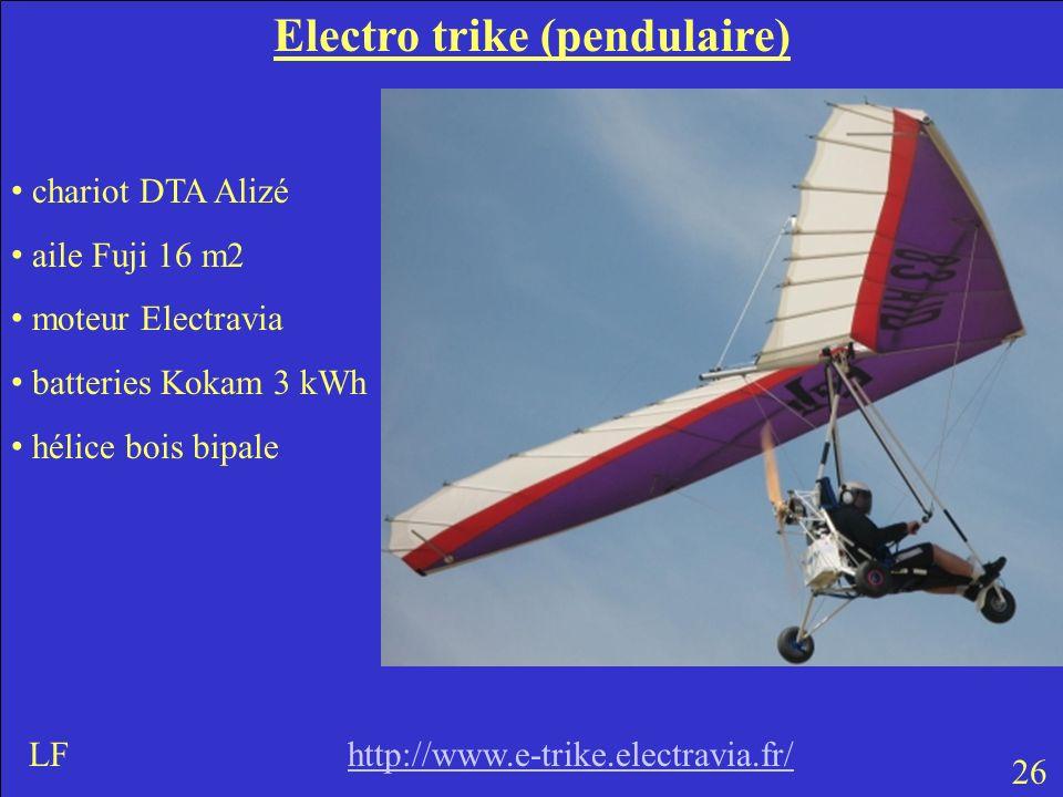 Electro trike (pendulaire) chariot DTA Alizé aile Fuji 16 m2 moteur Electravia batteries Kokam 3 kWh hélice bois bipale 26 LF http://www.e-trike.electravia.fr/http://www.e-trike.electravia.fr/