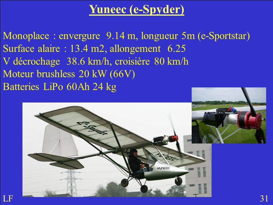 Yuneec (e-Spyder) Monoplace : envergure 9.14 m, longueur 5m (e-Sportstar) Surface alaire : 13.4 m2, allongement 6.25 V décrochage 38.6 km/h, croisière 80 km/h Moteur brushless 20 kW (66V) Batteries LiPo 60Ah 24 kg LF 31