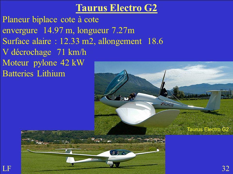 Taurus Electro G2 Planeur biplace cote à cote envergure 14.97 m, longueur 7.27m Surface alaire : 12.33 m2, allongement 18.6 V décrochage 71 km/h Moteur pylone 42 kW Batteries Lithium LF 32