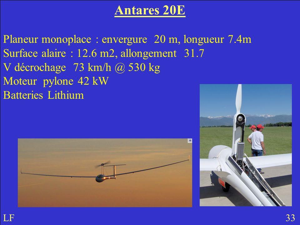 Antares 20E Planeur monoplace : envergure 20 m, longueur 7.4m Surface alaire : 12.6 m2, allongement 31.7 V décrochage 73 km/h @ 530 kg Moteur pylone 42 kW Batteries Lithium LF 33