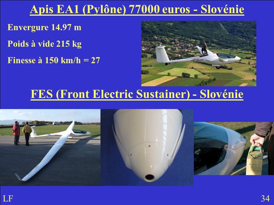 Apis EA1 (Pylône) 77000 euros - Slovénie Envergure 14.97 m Poids à vide 215 kg Finesse à 150 km/h = 27 FES (Front Electric Sustainer) - Slovénie LF 34