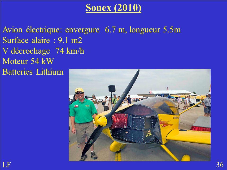 Sonex (2010) Avion électrique: envergure 6.7 m, longueur 5.5m Surface alaire : 9.1 m2 V décrochage 74 km/h Moteur 54 kW Batteries Lithium LF 36