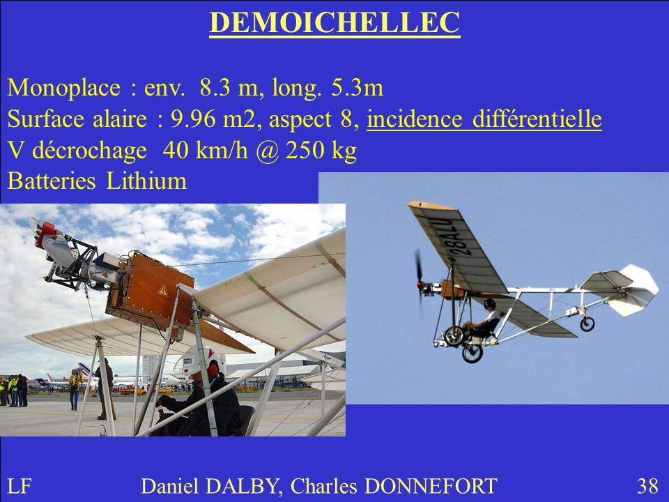 DEMOICHELLEC Monoplace : env. 8.3 m, long. 5.3m Surface alaire : 9.96 m2, aspect 8, incidence différentielle V décrochage 40 km/h @ 250 kg Batteries L