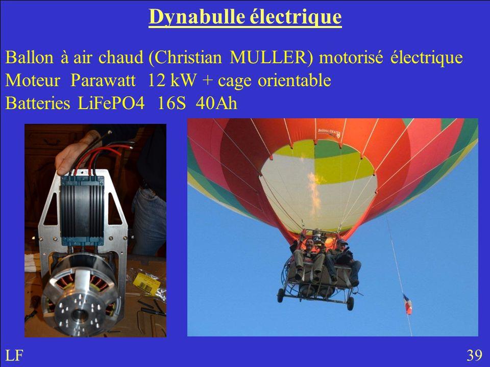 Dynabulle électrique Ballon à air chaud (Christian MULLER) motorisé électrique Moteur Parawatt 12 kW + cage orientable Batteries LiFePO4 16S 40Ah LF 39