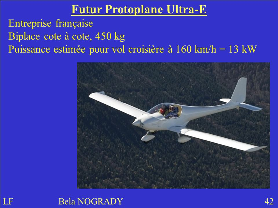 Futur Protoplane Ultra-E Entreprise française Biplace cote à cote, 450 kg Puissance estimée pour vol croisière à 160 km/h = 13 kW LF Bela NOGRADY 42