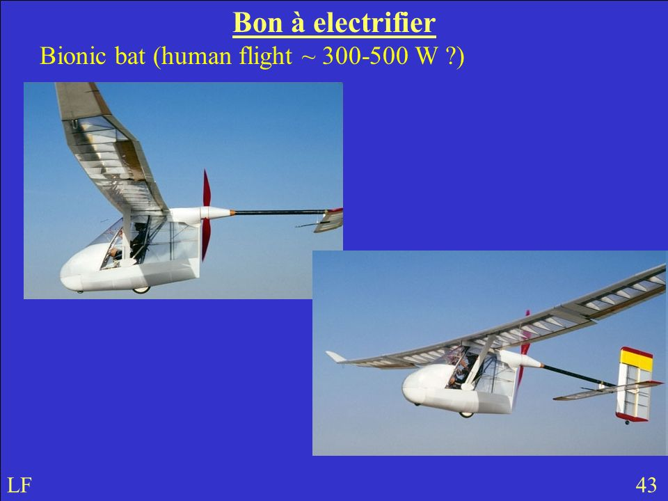 Bon à electrifier Bionic bat (human flight ~ 300-500 W ?) LF 43