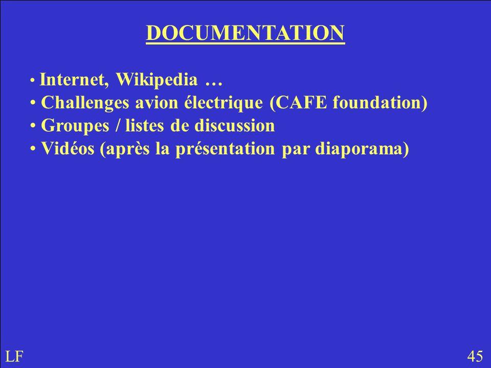 DOCUMENTATION Internet, Wikipedia … Challenges avion électrique (CAFE foundation) Groupes / listes de discussion Vidéos (après la présentation par diaporama) LF 45