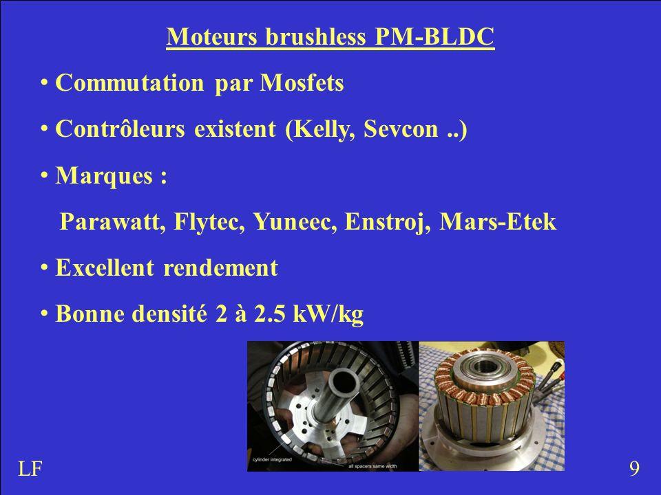 9LF Moteurs brushless PM-BLDC Commutation par Mosfets Contrôleurs existent (Kelly, Sevcon..) Marques : Parawatt, Flytec, Yuneec, Enstroj, Mars-Etek Excellent rendement Bonne densité 2 à 2.5 kW/kg