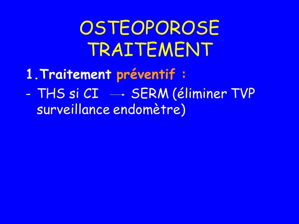 OSTEOPOROSE TRAITEMENT 1.Traitement préventif : -THS si CI SERM (éliminer TVP surveillance endomètre)