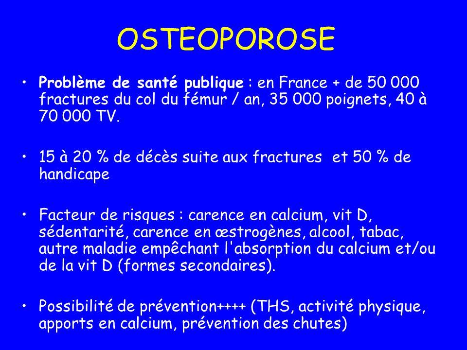 OSTEOPOROSE Problème de santé publique : en France + de 50 000 fractures du col du fémur / an, 35 000 poignets, 40 à 70 000 TV. 15 à 20 % de décès sui