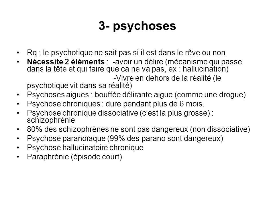 3- psychoses Rq : le psychotique ne sait pas si il est dans le rêve ou non Nécessite 2 éléments : -avoir un délire (mécanisme qui passe dans la tête e