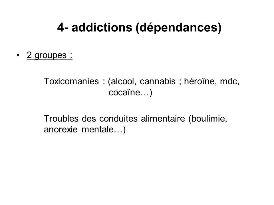 4- addictions (dépendances) 2 groupes : Toxicomanies : (alcool, cannabis ; héroïne, mdc, cocaïne…) Troubles des conduites alimentaire (boulimie, anore