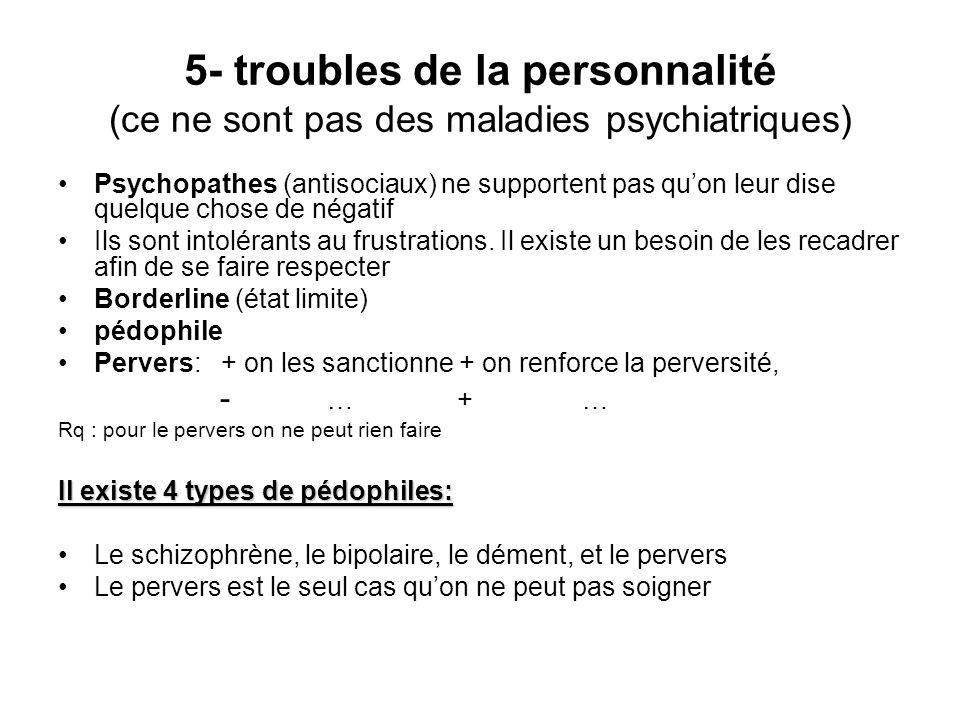 5- troubles de la personnalité (ce ne sont pas des maladies psychiatriques) Psychopathes (antisociaux) ne supportent pas quon leur dise quelque chose