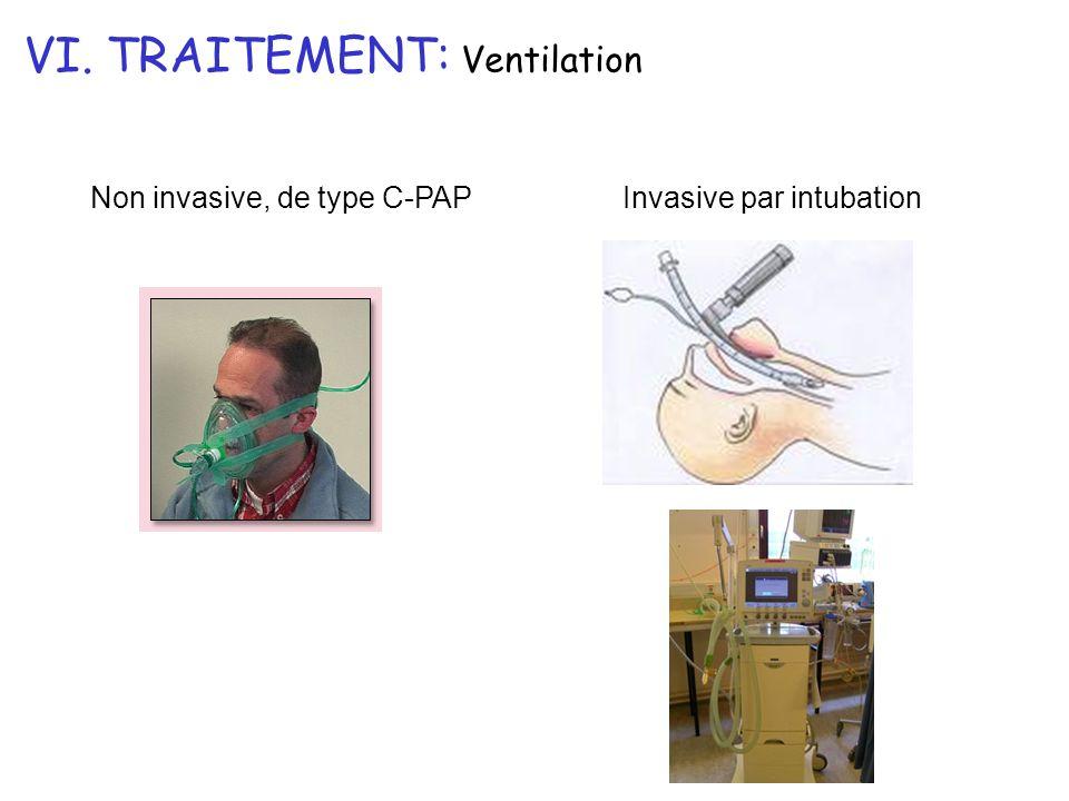 VI. TRAITEMENT: Ventilation Invasive par intubationNon invasive, de type C-PAP