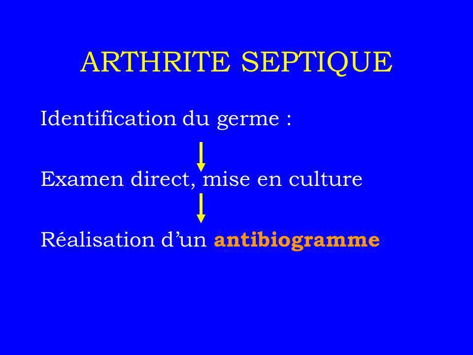 ARTHRITE SEPTIQUE Identification du germe : Examen direct, mise en culture Réalisation dun antibiogramme