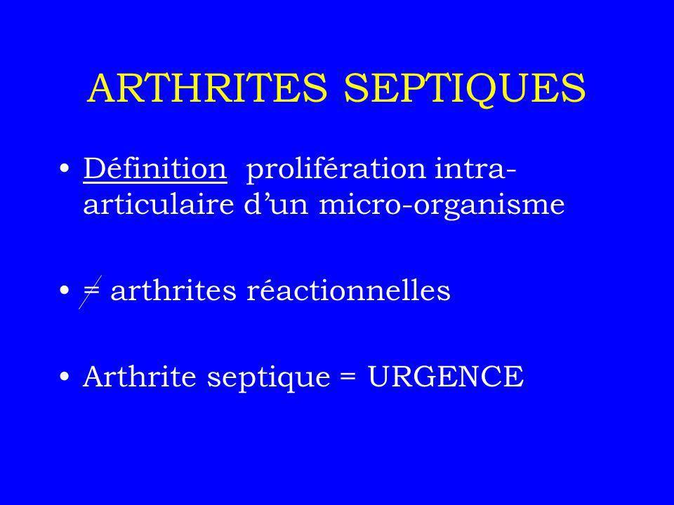 ARTHRITE SEPTIQUE Voie hématogène ou inoculation directe Incidence 5 cas pour 100 000 Germe le +frqt : STAPHYLOCOQUE (60%)
