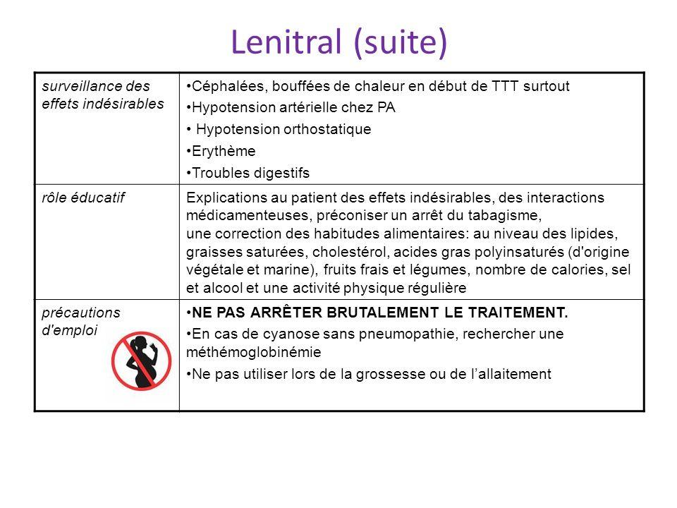 Lenitral (suite) surveillance des effets indésirables Céphalées, bouffées de chaleur en début de TTT surtout Hypotension artérielle chez PA Hypotensio