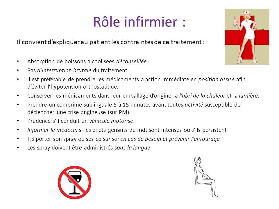 Rôle infirmier : Il convient dexpliquer au patient les contraintes de ce traitement : Absorption de boissons alcoolisées déconseillée. Pas dinterrupti