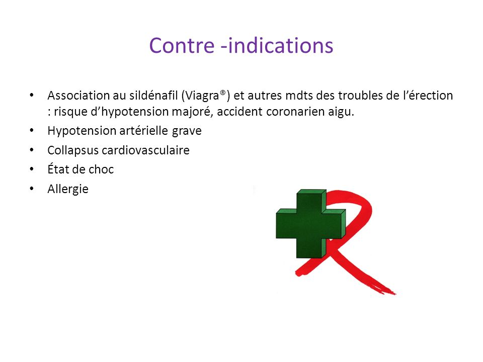 Contre -indications Association au sildénafil (Viagra®) et autres mdts des troubles de lérection : risque dhypotension majoré, accident coronarien aig