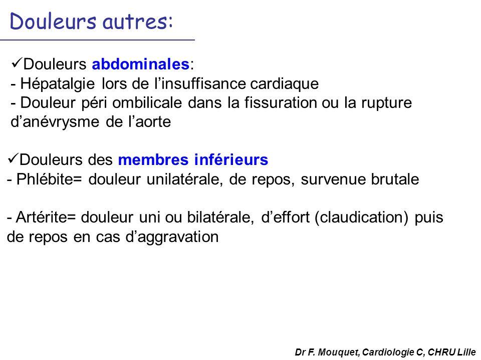 Douleurs autres: Douleurs abdominales: - Hépatalgie lors de linsuffisance cardiaque - Douleur péri ombilicale dans la fissuration ou la rupture danévr