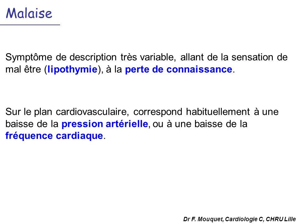 Malaise Symptôme de description très variable, allant de la sensation de mal être (lipothymie), à la perte de connaissance. Dr F. Mouquet, Cardiologie