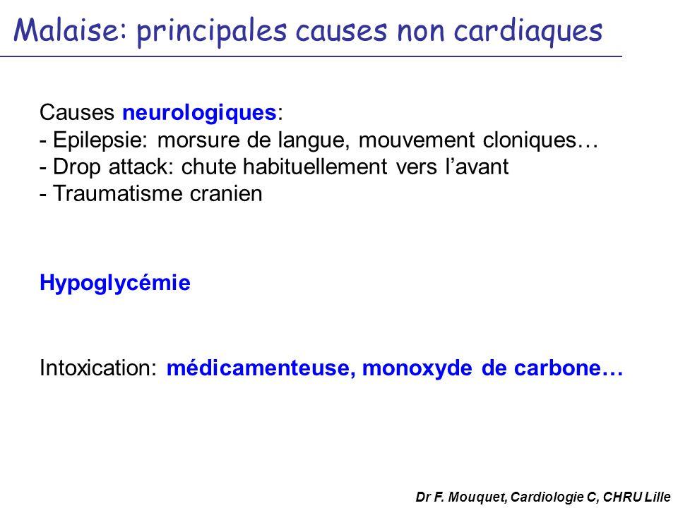 Malaise: principales causes non cardiaques Causes neurologiques: - Epilepsie: morsure de langue, mouvement cloniques… - Drop attack: chute habituellem