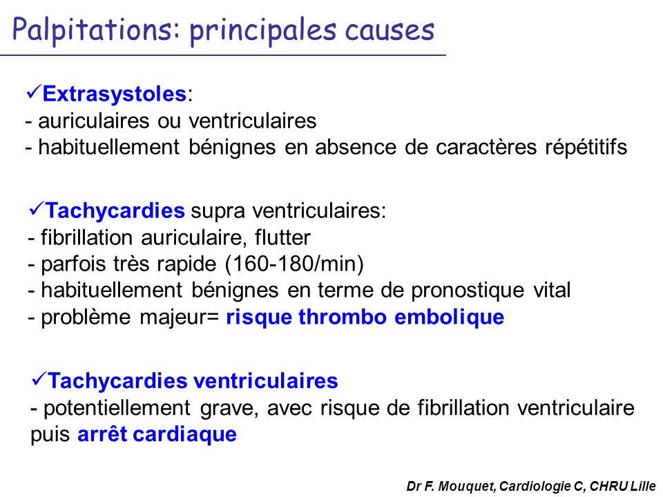 Palpitations: principales causes Extrasystoles: - auriculaires ou ventriculaires - habituellement bénignes en absence de caractères répétitifs Dr F. M