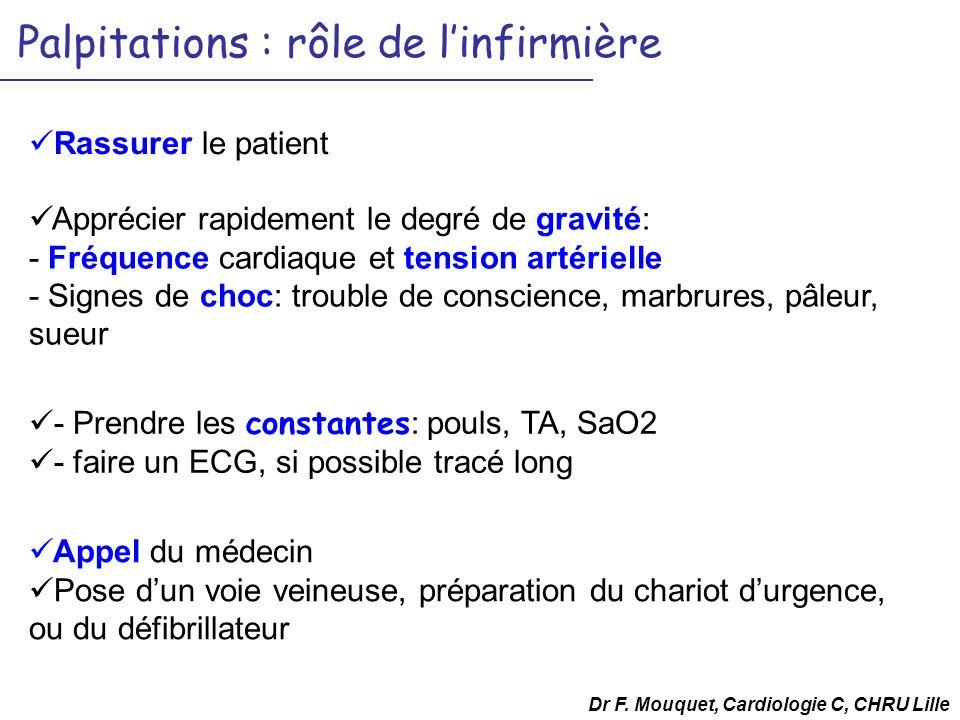 Palpitations : rôle de linfirmière Rassurer le patient Dr F. Mouquet, Cardiologie C, CHRU Lille Apprécier rapidement le degré de gravité: - Fréquence