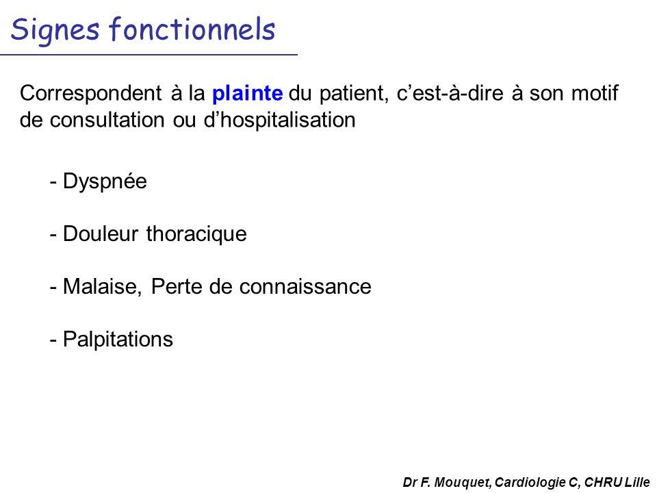 Dr F. Mouquet, Cardiologie C, CHRU Lille Signes fonctionnels - Dyspnée - Douleur thoracique - Malaise, Perte de connaissance - Palpitations Correspond